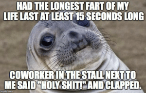 I thought I was alone at the toilet.: HAD THE LONGEST FART OF MY  LFE LAST AT LEAST 15 SECONDS LONG  COWORKERIN THE STALL'NEXT TO  ME SAID HOMSHİTE AND CLAPPED  imgflip.com I thought I was alone at the toilet.