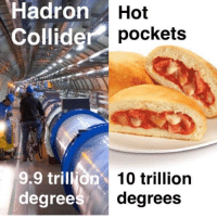 Hot Pockets, Hell, and Degree: Hadron  Collide  Hot  pockets  9.9 trillion  degree  10 trillion  degrees Hot pockets hot as hell