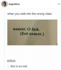 studentlifeproblems:Follow us @studentlifeproblems​: hagridhut  when you walk into the wrong class  HAMLET: O fuck.  (Exit HAMLET.)  stilezs:  this is so real studentlifeproblems:Follow us @studentlifeproblems​
