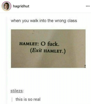 Follow us @studentlifeproblems​: hagridhut  when you walk into the wrong class  HAMLET: O fuck.  (Exit HAMLET.)  stilezs:  this is so real Follow us @studentlifeproblems​