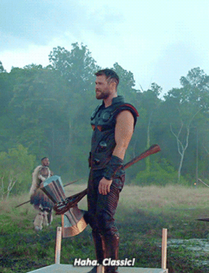 Chris Hemsworth, Target, and Tumblr: Haha. dassicl fyeahmarvel:   Chris Hemsworth on the set of Avengers: Infinity War
