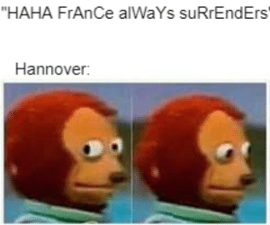 """Meme, France, and History: """"HAHA FrAnCe alWaYs suRrEndErs  Hannover: Can we make this the new Frech surrender meme?"""