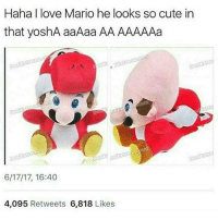 Bad, Cute, and Fashion: Haha I love Mario he looks so cute in  that yoshA aaAaa AA AAAAAa  6/17/17, 16:40  4,095  Retweets  6,818  Likes . ✔TAG YOUR FRIENDS!✔ Like and comment for good luck ignore for bad luck 💯FOLLOW @Its.Ninjay (me) And my other acc @SavageMouseHD for more💯 〰〰〰〰〰〰〰〰〰〰〰〰〰〰〰〰〰〰 ❤️Double tap for more❤ 〰〰〰〰〰〰〰〰〰〰〰〰〰〰〰〰〰〰 ❌Ignore tags❌ Like4like Like4follow Doubletap Like Follow Love Cute Happy Fun Me Reposts Lit Fashion Ps4 Xbox Memes Lmfao Rainbowsixsiege Comedy Callofduty Gamingmemes Gaming Codmemes Funny Funnymemes Stupid