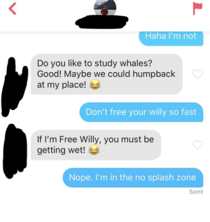 No Splash Zone...This whole exchange with a match last year still makes me laugh: Haha I'm not  Do you like to study whales?  Good! Maybe we could humpback  at my place!  Don't free your willy so fast  If I'm Free Willy, you must be  getting wet!  Nope.I'm in the no splash zone  Sent  L No Splash Zone...This whole exchange with a match last year still makes me laugh