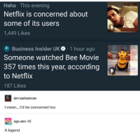 Bee Movie: Haha This evening  Netflix is concerned about  some of its users  1,449 Likes  al Business Insider UK. , 1 hour ago  Someone watched Bee Movie  357 times this year, according  to Netflix  187 Likes  kim-kertreshcan  I mean...l'd be concerned too  A legend