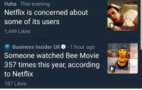 Bee Movie, Crying, and Netflix: Haha This evening  Netflix is concerned about  some of its users  1,449 Likes  Business Insider UK 1 hour ago  Someone watched Bee Movie  357 times this year, according  to Netflix  187 Likes surprisebitch: j-sillabub:   kim-kartrashcan: I mean…I'd be concerned too  They tracked the person down and it turned out to be a woman from Scotland whose baby *really* loved Bee Movie to the point that it was the only thing that stopped him crying. So she just played it over and over. The endurance. She must have been exhausted.   thanks for the update! knew it was a kid