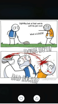 Meme, Com, and Rock: Hahaha look at that weirdo  with his pet rock!  What a LOSER!  LoadingArtist.com Meme dumpers