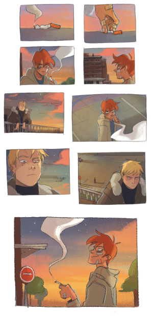 Books, Target, and Tumblr: hahanken: an aftg warm up i've been working on in between commissions! a year ago i made an andreil comic of the pipe dream line and i wanted to make a small continuation since this is one of my favorite scenes… luv the quiet intensity of these two assoles when this happened!!! i'm trying to practice boarding and comics in general, so if there's a scene from the books you would like to suggest me drawing you're more than welcome!