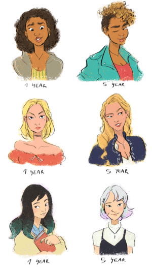 hahanken:felt like drawing these great ladies again… you know all those memes of freshman year vs. senior year? the palmetto foxes probably aced that meme with how much they changed thru the years, might do the boys later!: hahanken:felt like drawing these great ladies again… you know all those memes of freshman year vs. senior year? the palmetto foxes probably aced that meme with how much they changed thru the years, might do the boys later!