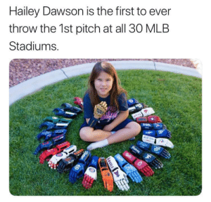 Way to go Hailey!!!: Hailey Dawson is the first to ever  throw the 1st pitch at all 30 MLB  Stadiums.  Pde  UJAYS  Beds  ww  ANGELS  Patres Way to go Hailey!!!
