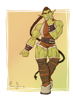hainlich:  The first one of a bunch of characters I'm designing for a friend's rpg rule book. An Orc!: hainlich:  The first one of a bunch of characters I'm designing for a friend's rpg rule book. An Orc!