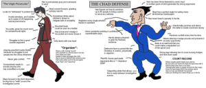 """The Virgin Prosecutor vs. THE CHAD DEFENSE: Hair has been firmly fastened to never react  to sudden gusts of wind generated by strong arguments  Hair is prematurely grey and overreacts  to wind  """"The Virgin Prosecutor""""  THE CHAD DEFENSE  Head craned forward, updating  autopsy reports  Has figured out how to convince  up to 40 people to bring a parrot  Head has a perfect angle for eating many  all-American hamburgers  Looks for """"witnesses"""" to protect him  to serve as a witness  Sometimes thinks about  children's shows to  Avoids elevators, and huddles  up in cases of oft-happening  natural phenomena  Has never heard a penalty in his life  Registers every single emotion  thanks to assistant  mitigate lack of sociability  Intentionally punches and slams  the table to create courtroom drama  Slouched back  could be used as a ladder  Too polite, gives too much room  for extraterritorial rights  Arms constantly pointing in confident  unpredictable ways  Has prosecutor's badge in  his pocket and never shows it  Receives confetti every time he wins  Hands always prepared  to grab the freshest  evidence  Wears attorney's badge proudly and presents it  Struggles to find a good  counter-argument  at every opportunity  Back is so well built that you  could make a stepladder out  of the spinal cord  Only slams with one hand  """"Organizer""""  Defensive form is poised like the  Goddess of Justice, perpetually  in objectivo  Arguing pace/form lacks fluidity  because he struggles to put  people into the chess dimension  Wears a silly looking """"cravat""""  Only assistant is a dumb dude in his 30s  Only wears red coats  Speaks in fake languages like Latin  Has to share a leitmotif with someone else  Can't even enter court in his own game  Uses """"logic and """"reasoning  Strong legs allowing him to cross burning bridges  and kick doors open  Rapidly moves past weak  arguments like in """" Objection!  2004  COURT RECORD  Never gets confetti  Wears visually-painful bright neon pink tie  No one alive ca"""
