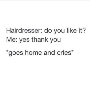hairdresser: Hairdresser: do you like it?  Me: yes thank you  goes home and cries*