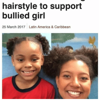 """America, Beautiful, and Facebook: hairstyle to support  bullied girl  25 March 2017 Latin America & Caribbean A Brazilian teacher has come up with a unique way to help a schoolgirl who was being bullied because of her hair. Ana Barbara Ferreira, from Sao Paulo, said her student was """"sad"""" after being ridiculed by a boy, who had said her hair was """"ugly"""". """"At that moment, the only thing I could tell her was that she was wonderful and shouldn't care about what he was saying,"""" she wrote in a Facebook post that went viral. A bigger show of support came in the following day, when she went to work wearing the same hairstyle as her pupil, much to the girl's surprise. """"When she saw me, she came running to hug me and say that I was beautiful,"""" Ms Ferreira said. """"I told her: 'Today I'm beautiful like you!'"""" ❤ theblaquelioness"""