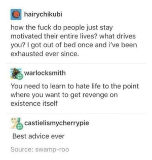 Advice, Life, and Revenge: hairychikubi  how the fuck do people just stay  motivated their entire lives? what drives  you? I got out of bed once and i've been  exhausted ever since.  warlocksmith  You need to learn to hate life to the point  where you want to get revenge on  existence itself  castielismycherrypie  Best advice ever  Source: swamp-roo I learned to hate life to the point where i want to kill it. Did i do it right?