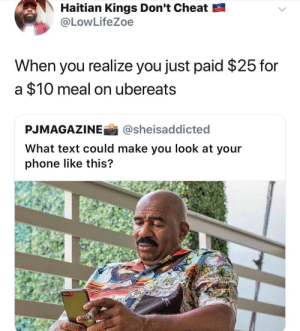 Dank, Memes, and Phone: Haitian Kings Don't Cheat  @LowLifeZoe  When you realize you just paid $25 for  a $10 meal on ubereats  PJMAGAZINEİ İ @she.saddicted  What text could make you look at your  phone like this? That delivery fee aint cheap. by tabinom FOLLOW HERE 4 MORE MEMES.