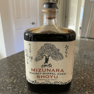 Sister-in-law orders a Japanese whiskey for me every Christmas. I don't think she read the description this time when she shipped me a $50 bottle of soy sauce.: HAKU  MIZUNARA  WHISKY BARREL AGED  SHOYU  - PRODUCT OF JAPAN-  750 ml  マスキーの Sister-in-law orders a Japanese whiskey for me every Christmas. I don't think she read the description this time when she shipped me a $50 bottle of soy sauce.