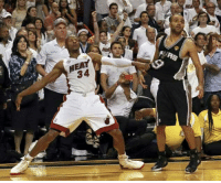 Chris Bosh, LeBron James, and Memes: Hal  HEAY  RURS  34  뛔 2013 NBA Finals Game 6  With the Heat down three and the shot clock off, LeBron James missed a 3-pointer to tie from the left wing. Chris Bosh then out-jumped two Spurs to grab the offensive rebound. He quickly got the ball to Ray Allen, who was backpedaling to the right corner. Allen didn't hesitate and drained the game-tying three with 5.2 seconds left on the clock. Miami went on to win Game 6 in overtime and then take Game 7 for its second straight championship.  #Knives