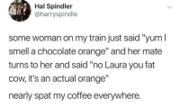 "Instagram, Memes, and Smell: Hal Spindler  @harryspindle  some woman on my train just said ""yum I  smell a chocolate orange"" and her mate  turns to her and said ""no Laura you fat  cow, it's an actual orange""  nearly spat my coffee everywhere. Follow @WhySoAccurate for the most relatable memes on Instagram 😤🙌🏽💯"