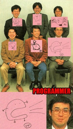 Original Kirby Team asked to draw Kirby (circa 1992): HAL,  titisea  PROGRAMMER  スか Original Kirby Team asked to draw Kirby (circa 1992)