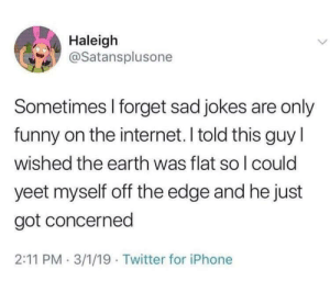 Concerning: Haleigh  @Satansplusone  Sometimes I forget sad jokes are only  funny on the internet. I told this guy l  wished the earth was flat so l could  yeet myself off the edge and he just  got concerned  2:11 PM 3/1/19 Twitter for iPhone Concerning