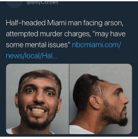 "Cats, Dank, and Dude: Half-headed Miami man facing arson,  attempted murder charges, ""may have  some mental issues"" nbcmiami.com/  news/local/Hal This the type of shit @an.every.day.king be on, follow dude before Soulja give you a problem • (Ignore: memes dank funny cats insta love me goals happy ligmaballs)"