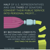 Memes, Office, and 🤖: HALF OF U.S. REPRESENTATIVES  AND ONE  THIRD OF SENATORS  CONVERT THEIR PUBLIC SERVICE  INTO PERSONAL PROFIT.  BY BECOMING LOBBYISTS  FOR THE SAME FIRMS THAT LOBBIED  THEM WHILE THEY WERE IN OFFICE  AND OFFERED THEM JOBS WITH  FIVE TIMES THE SALARY.  Bulletin Represent Us  Source: Vox com Anyone else see something wrong with this?