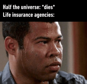 Dank, Life, and Life Insurance: Half the universe: *dies*  Life insurance agencies: Please provide proof that this pile of dust is your husband.