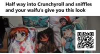This is too real. *bicep curl emoji* *crying laughter emoji* *okay hand sign emoki*: Half way into Crunchyroll and sniffles  and your waifu's give you this look This is too real. *bicep curl emoji* *crying laughter emoji* *okay hand sign emoki*