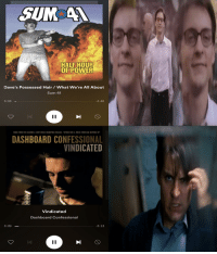 Music, Sony, and Spider: HALFHOUR  OF POWER  Dave's Possessed Hair/ What We're All About  Sum 41  O: 03 -  3:45  TAKEN FROM THE COLUMBIA/SONY MUSIC SOUNDTRAX RELEASE SPIDER-MAN 2 MUSIC FROM AND INSPIRED BY  DASHBOARD CONFESSIONAL  VINDICATED  Vindicated  Dashboard Confessional  O:09_  3:13