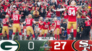 HALFTIME: @49ers lead at home. #NFLPlayoffs   📺: #GBvsSF on FOX 📱: NFL app // Yahoo Sports app Watch free on mobile: https://t.co/jti8uZSrIn https://t.co/hHeuGgfRjj: HALFTIME: @49ers lead at home. #NFLPlayoffs   📺: #GBvsSF on FOX 📱: NFL app // Yahoo Sports app Watch free on mobile: https://t.co/jti8uZSrIn https://t.co/hHeuGgfRjj