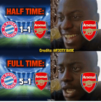 Arsenal, Memes, and The Game: HALFTIME.  Arsenal  CNCH  Credits: @FOOTY BASE  FULL TIME  BAYS  Arsenal  goot Bose  Arsenal  Arsenal  NDS Arsenal Fans during the game 😩 These memes never get old 😂 Tag an Arsenal Fan 👇 Double Tap & follow me @footy.base for more! 🔥