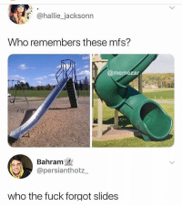 Memes, Fuck, and 🤖: @hallie_jacksonn  Who remembers these mfs?  @memezar  Bahram  @persianthotz  who the fuck forgot slides what