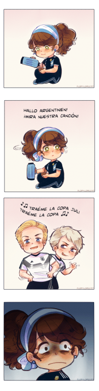 flopylopez97:  I swear I drew this before Germany's match but now they lost and it made this comic lose its momentum lmao   Anyways I can't believe the German Team's official Twitter account in Spanish is teasing Argentina by using local meme songs   😂    Keep reading: HALLO ARGENTINIEN  MIRA NUESTRA CANCION!   TRAEME LA COPA J  EME LA COPA flopylopez97:  I swear I drew this before Germany's match but now they lost and it made this comic lose its momentum lmao   Anyways I can't believe the German Team's official Twitter account in Spanish is teasing Argentina by using local meme songs   😂    Keep reading
