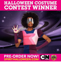 Cartoon Network, Halloween, and Memes: HALLOWEEN COSTUME  CONTEST WINNER  PRE-ORDER NOW! CN  SPIRITHALLOWEEN COM  SPIRIT  CARTOON NETWORK We asked. You voted. Aaaaand Garnet is our winner! 🎉 Pre-order your costume today at @spirithalloween! (👀 link in bio.)