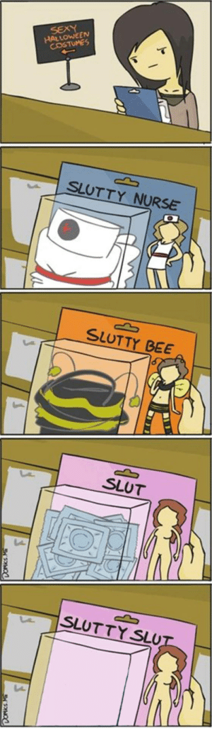 Funny, Halloween, and Halloween Costumes: HALLOWEEN  COSTUMES  SLUTTY NURSE  SLUTTY BEE  SLUT  SLUTTY SLU We must go deeper. via /r/funny https://ift.tt/2DzB3sk