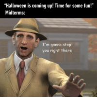 "At least I'm getting spooked in school.⠀ -⠀ halloween studentlife 9gag: ""Halloween is coming up! Time for some fun!""  Midterms:  I'm gonna stop  you right there At least I'm getting spooked in school.⠀ -⠀ halloween studentlife 9gag"