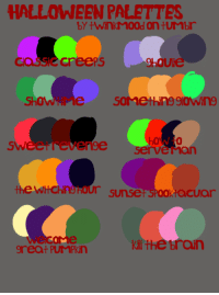 iliketoscaremyself:  some halloween palettes! send in a monster/character and a palette!: HALLOWNEEN PALETTES  cassiecreepS  9hoUie  ShOWHM  e soMethin9910Win9  ere servernan  10  SW  rvé man  wichnsnour sunse  ktacuar  Kill the brain  great PUMPKiN iliketoscaremyself:  some halloween palettes! send in a monster/character and a palette!