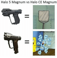 Goals, Halo, and Meme: Halo 5 Magnum vs Halo CE Magnum  arSaurusRex Let's try and get @gluedtogaming to 5k. I'm helping more people reach their goals. I'm also gonna follow more people later 😊Follow @gluedtogaming let's help him out! (Repost of my old meme)