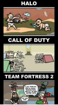 Team Fortress 2: HALO  CALL OF DUTY  FAGGOT  FAGGY  FA Geor Fl  TEAM FORTRESS 2  TRADE You  $50 MACRO-  TRANSACTIONS  VINTAGE HATS  NO WAY,  JosE  GABE