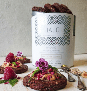 Baked, Halo, and Lol: HALO  ORGANIC  PROTEIN SUPERFO0D  RAW CACA0 & COCONUT  URANIC VEGETARIAN lol-coaster: Swhey's Halo protein powder is one of the highest quality protein powders on the market due to its organic, non-GMO ingredients, and fair trade cocoa and its phenomenal taste in baked goods. The formula is unique to the Swhey brand name and is mixed and packaged in the United States, so when you buy from Swhey, you'll never be purchasing a premade, premixed, overseas packaged product other companies have sold under their own brand name. Swhey's products are 100% original, made in house.    https://swhey.com/products/halo