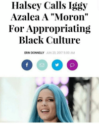 "Halsey is another one I tend to like more, the more i hear about her she also lowkey called out Demi for the fetishization of bi ppl in her song ""cool for the summer"". Tbh ppl are trying to say iggy clapped back but she really didn't she knows she appropriates not even just black culture but Indian culture and others and instead of owning up and apologizing she pretty much said i hope Halsey grows up.... -Tiara: Halsey Calls Iggy  Azalea A ""Moron""  For Appropriating  Black Culture  f9  ERIN DONNELLY JUN 23, 2017 5:00 AM Halsey is another one I tend to like more, the more i hear about her she also lowkey called out Demi for the fetishization of bi ppl in her song ""cool for the summer"". Tbh ppl are trying to say iggy clapped back but she really didn't she knows she appropriates not even just black culture but Indian culture and others and instead of owning up and apologizing she pretty much said i hope Halsey grows up.... -Tiara"
