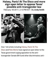 Halsey Panic At The Disco And More Sign Open Letter To Oppose Texas