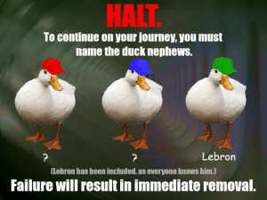diffferen tiate the Duck Nephews https://t.co/s7NqrvJ5Vm: HALT  To continue on your journey, you must  name the duck nephews.  Lebron  ?  [Lebron has been included, as everyone knows him.)  Failure will result in immediate removal. diffferen tiate the Duck Nephews https://t.co/s7NqrvJ5Vm