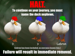 diffferen tiate the Duck Nephews: HALT  To continue on your journey, you must  name the duck nephews.  Lebron  ?  ?  [Lebron has been included, as everyone knows him.)  Failure will result in immediate removal. diffferen tiate the Duck Nephews