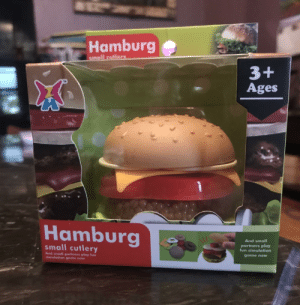 Regret, Game, and Engrish: Hamburg  smoll cutlery  3+  Ages  Hamburg  M/  And small  small cutlery  partners play  fun simulation  And small partners play fun  simulation gome now  game now I don't regret finding this