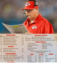 "Andy Reid looking at his ""play sheet"" https://t.co/H8GTiHXD6F: HAMBURGERS  Fuaily Ouaed&OprtaSANDWICH SPECIALS  Det'  Special Lettuce, Tomate, Pickle, Ouiu &Wastard4.05 B.L.T  #1 Tangy Relisk Saare taith 0Kinus  4.15  4.15  Bacea, lettuce, Teamate & Wayenaise  4.05 Steak Sandwich Chickex Frind Steak w/Dettuce, Toumote & Wagenuaise  4.05 Hickory Steaek Chicken Fried Steak w/Hickery Saee, Cheese. Lettnce & Temate 4.25  4.05  4.25  4.05  COMBO SPECIALS  Texas Cheese Bunger  Coliheruin Chicken Sanduick  Pattie Wel  Geacamele Suiss Bage  Salweu Batger  #5  Tangy Relisk Saate, Lettuce & Teatata  Phitly Ceese Steak Sandauich  Deggie Batger  Turkey Barger  HOTDOGS  #6  #7  #8  Sataked Ftaak uitk Chili, Claase & 0nin""  Sacked Ftaak uith Chili  Seceked Ftaak uitk Hickety Saare  .25  4.05  4.05  All cembes seved u/Freck Fries & 16 ez. Driak $7.39  (Soudarick Only $5.20)  X-TRAS  CHEESEBURGERS  SIDES  DRINKS  16 ez.  1.40  1,70  4.25  #9  #to  #0  Cheese, Lettuce. Tentate &Waytuaise  Claese. Lettate. Temate, Pickle, 0xiex & Masland 4.25  DOUBLE Meat & Cheesew/Lettate. Teatate. 5.55  Funuek Fries 70 Cheese .75  Tater Tet  Caly Fries Patties Las Reeheer i uety Wags 1.40  L8S Chitl 65 32 z  Pickle, Onicn & Mustard  niRgs 85 Frks 1.35  Sweet Potate Fris 1,85 Bacx 95 Swet Tea  35 Reetbeer Fleats  2.35  1.40  L85  Franks Andy Reid looking at his ""play sheet"" https://t.co/H8GTiHXD6F"
