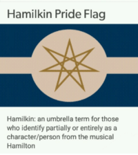 "Tumblr, Blog, and Heart: Hamilkin Pride Flag  Hamilkin: an umbrella term for those  who identify partially or entirely as a  character/person from the musical  Hamilton <p><a href=""https://otherkin-cringe.tumblr.com/post/170846425422/hmmm"" class=""tumblr_blog"">otherkin-cringe</a>:</p>  <blockquote><p>hmmm</p></blockquote>  <p>I say this as someone who knows the soundtrack by heart and has seen the play live but: Hamilton was probably the biggest mistake of the 21st-century.</p>"