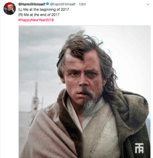 Mark Hamill, Target, and Tumblr: @HamillHimself @HamillHimself 10m  Me at the beginning of 2017  (L)  (R) Me at the end of 2017  #HappyNewYear2018  TR lieutenant-sapphic: mark hamill has achieved peak comedy everyone else go home