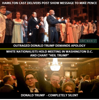 "Donald Trump, Memes, and Nationwide: HAMILTON CAST DELIVERS POST SHOW MESSAGE TO MIKE PENCE  SAVE MAIN ST  OUTRAGED DONALD TRUMP DEMANDS APOLOGY  WHITE NATIONALISTS HOLD MEETING IN WASHINGTON D.C.  AND CHANT ""HEIL TRUMP""  DONALD TRUMP COMPLETELY SILENT We are in for some scary times ahead. Let's brace ourselves and get ready to stand up together. And, join the ACLU Nationwide!"